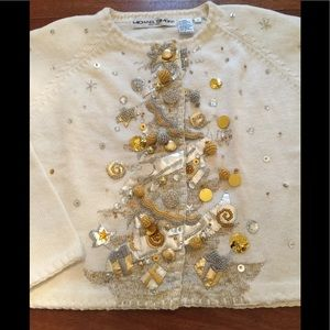 MICHAEL SIMON Holiday Cardigan Sequins  Ivory Sm